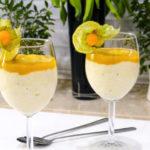 Jaglanka na mleku kokosowym z musem z mango
